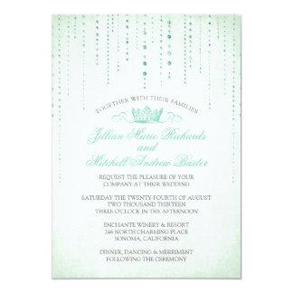 Glitzern u. Kronefairytale-Hochzeits-Einladung