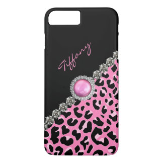 Glitzzy rosa Jaguar Druck iPhone 7 Plusfall iPhone 8 Plus/7 Plus Hülle