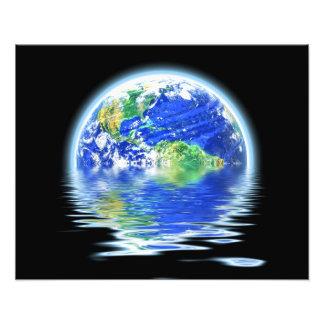Globale Erwärmung überschwemmte Erdillustration Foto