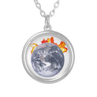 Globale Erwärmungs-Erde Versilberte Kette