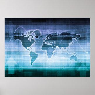 Globale Technologie-Lösungen auf dem Internet Poster