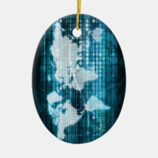 Globales Technologie-Konzept Digital abstrakt Ovales Keramik Ornament