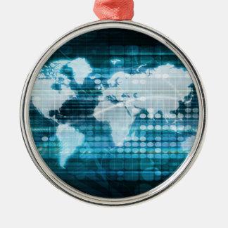 Globales Technologie-Konzept Digital abstrakt Rundes Silberfarbenes Ornament