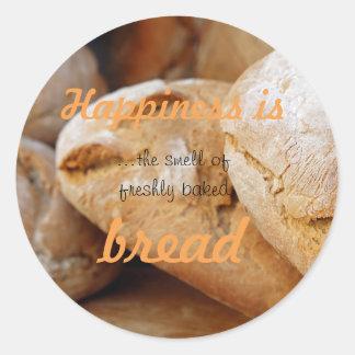 Glück ist der Geruch des frisch gebackenen Brotes Runder Aufkleber