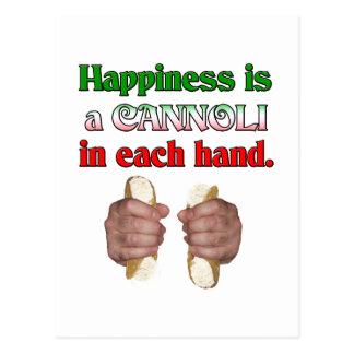 Glück ist ein Cannoli in jeder Hand Postkarte