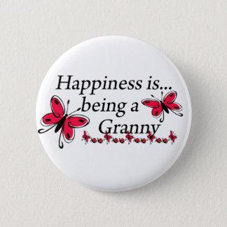 Glück ist ein Oma SCHMETTERLING Runder Button 5,1 Cm