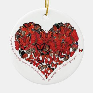 Glück ist ein Schmetterling Keramik Ornament