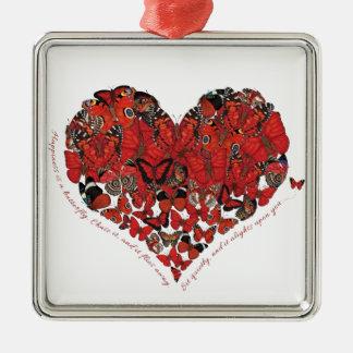 Glück ist ein Schmetterling Quadratisches Silberfarbenes Ornament