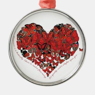 Glück ist ein Schmetterling Rundes Silberfarbenes Ornament