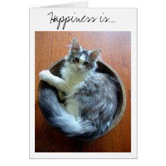 Glück ist eine Schüssel voll der Kätzchenkarte Karte
