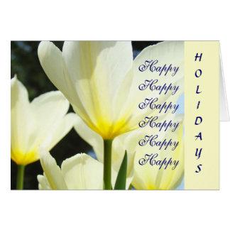 Glücklich frohe Feiertage! Weiße gelbe Tulpe-Blume Grußkarten