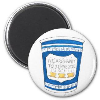Glücklich, Ihnen NYC zu dienen griechischer Runder Magnet 5,1 Cm