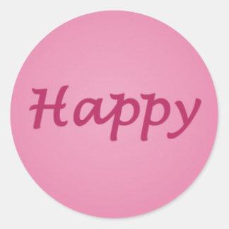 Glücklich im rosa Text Runder Aufkleber