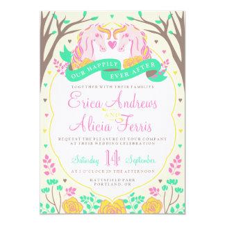 Glücklich seitdem Einhorn-Hochzeits-Einladung 12,7 X 17,8 Cm Einladungskarte
