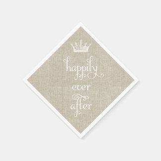 Glücklich seitdem Kronen-Leinenservietten Papierservietten