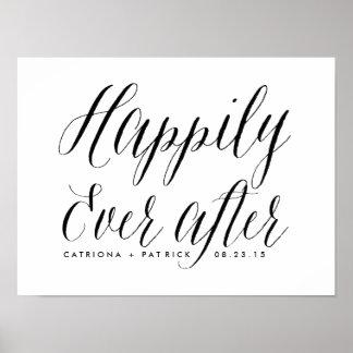Glücklich seitdem Wedding Schwarzes des Plakat-|