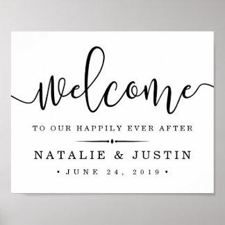 Glücklich seitdem | Wedding Willkommensschild Poster