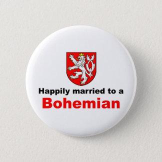 Glücklich verheiratet zu einem Böhmen Runder Button 5,1 Cm