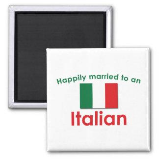 Glücklich verheirateter Italiener Quadratischer Magnet