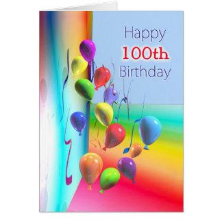Glückliche 100. Geburtstags-Ballon-Wand Karte