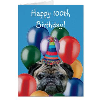 Glückliche 100. Geburtstags-Mops-Grußkarte Karte