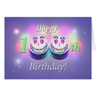 Glückliche 100. Geburtstags-smiley-Kuchen Grußkarte