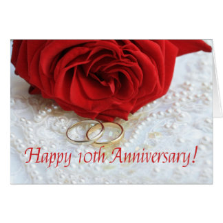 Glückliche 10. Jahrestags-Rosen Grußkarte