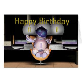 Glückliche 11. Geburtstags-Roboter-Katze Karte