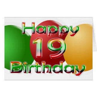 Glückliche 19. Geburtstags-Ballon-Karte Karte