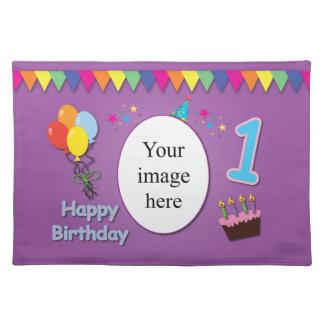 Glückliche 1. Geburtstags-Platzmatte mit Ihrem Tischset