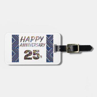 Glückliche 25 25. Jahrestagsgeschenke Kofferanhänger