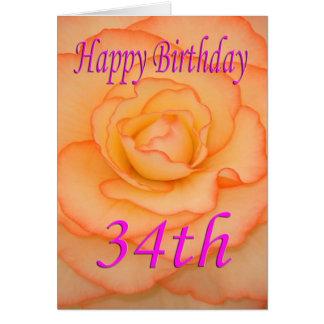Glückliche 34. Geburtstags-Blume Karte
