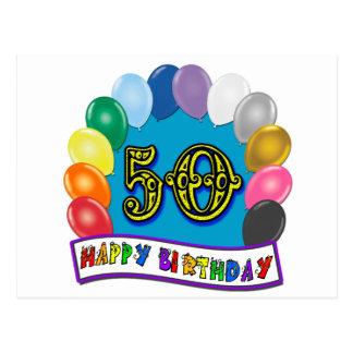 Glückliche 50. Geburtstags-Waren Postkarte