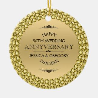 Glückliche 50. Jahrestags-Diamanten u. Gold Rundes Keramik Ornament