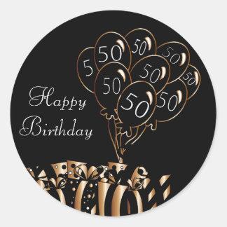 Glückliche 50. schwarze Ballone des Geburtstags-  Runder Aufkleber