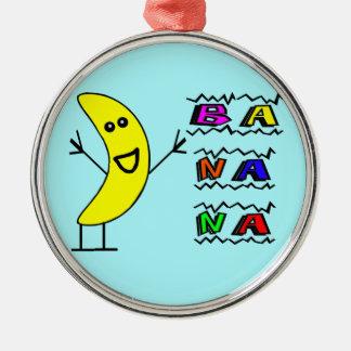 Glückliche Banane Silbernes Ornament