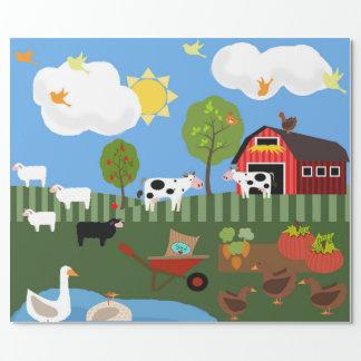 Glückliche Barnyard-Tier-Szene (MED. U. Fahrwerk. Geschenkpapier