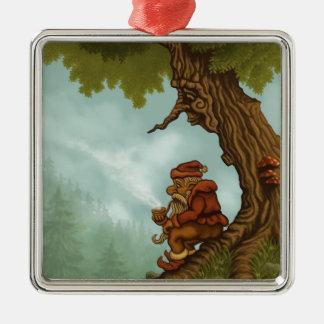 glückliche Baum Gnomephantasie Quadratisches Silberfarbenes Ornament