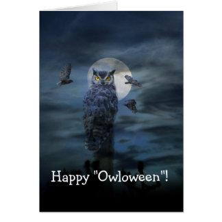 Glückliche beängstigende Eulen-Karte Halloweens Karte