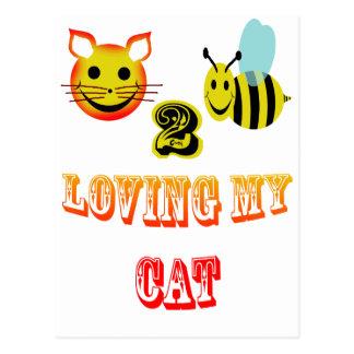 glückliche Biene 2, die meine Katze liebt Postkarte