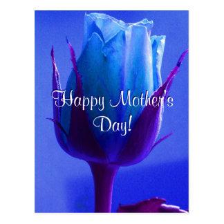 Glückliche Blau-Rose der Mutter Tages Postkarte