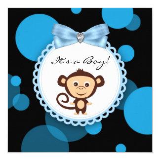 Glückliche blaue Affe-Babyparty Quadratische 13,3 Cm Einladungskarte