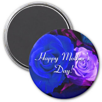 Glückliche blaue lila Rosen der Mutter Tages Kühlschrankmagnete