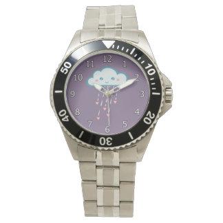 Glückliche blaue Regen-Wolke, die rosa Herzen Armbanduhr