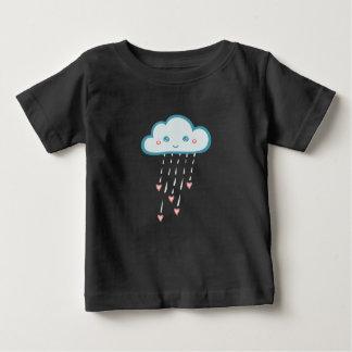 Glückliche blaue Regen-Wolke, die rosa Herzen Baby T-shirt