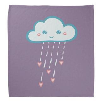 Glückliche blaue Regen-Wolke, die rosa Herzen Halstuch