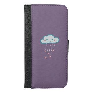 Glückliche blaue Regen-Wolke, die rosa Herzen iPhone 6/6s Plus Geldbeutel Hülle