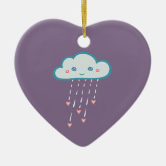Glückliche blaue Regen-Wolke, die rosa Herzen Keramik Ornament
