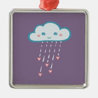 Glückliche blaue Regen-Wolke, die rosa Herzen Quadratisches Silberfarbenes Ornament