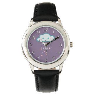 Glückliche blaue Regen-Wolke, die rosa Herzen Uhr